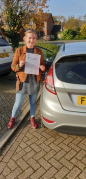 06 November - Freya passed in Sevenoaks with 7 minor driving faults! Well done Freya, that was a really good result.