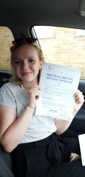 26 July 2019 - Maddie passed 1st time in very challenging conditions (heavy rain) with only 4 minor driving faults! Well done Maddie, that was an excellent result.